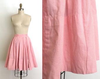 Vintage 1950s skirt // 50s gingham cotton skirt