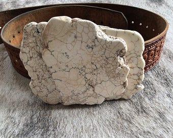 White 3 piece Slab Belt Buckle