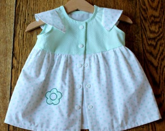 Dress baby girl, size 6 months, green cotton Mint/white with polka dots