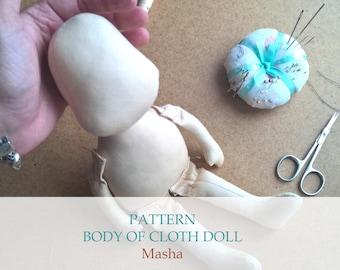 Body of cloth doll, pattern pdf, rag doll body, doll blank, doll sewing pattern, e-pattern, for beginner, textile doll, sewing tutorial,