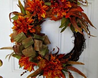 Fall Floral Wreath,  Dahlia Wreath, Grapevine Wreath, Welcome Wreath,  Indoor Wreath, Outdoor Wreath,
