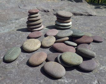 34 Small Flat Stones, Stack Of Stone, Fairy Garden Decoration, Zen Garden Decoration, Stackable Stones, Natural River Stones, Flat Stones
