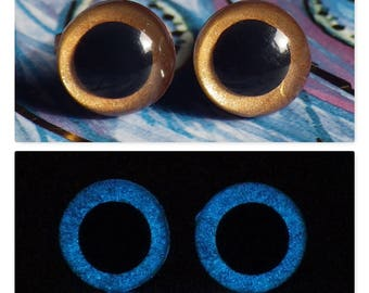 9mm Glow In The Dark Eyes, Metallic Dark Gold Safety Eyes With Blue Glow, 1 Pair Of Glow In The Dark Safety Eyes
