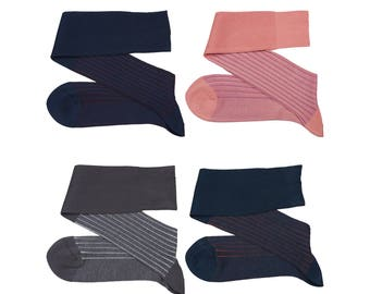 New Bi Color Men Over The Calf New Ribbed %100Cotton Lisle Casual Dress Solid Cotton Socks