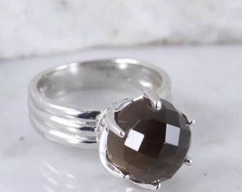 Beautiful faceted smoky quartz sterling silver ring