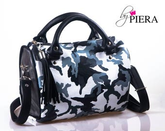 camo leather bag, barrel bag, leather bag, leather satchel bag, leather handbag, white leather bag