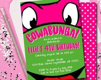 Girl TMNT Birthday Invitation, Ninja Turtle Invitation, Girl Ninja Turtle Invitation, Birthday Invitation, Invitation, Printable 5x7
