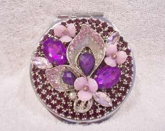 Purple Rhinestone Compact Mirror. Birthday, Weddimg Shower, Bridesmaid, Valentine, Mother's Day Gift!