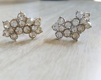 Vintage Bogoff Rhinestone Screw Back Earrings