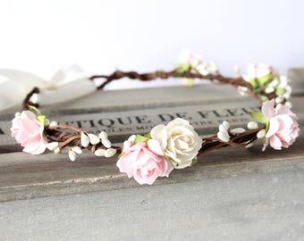 Floral Crown, Pink Flower Crown, Flower girl crown, rustic bride, boho wedding crown, bridal flower crown wedding, woodland wedding