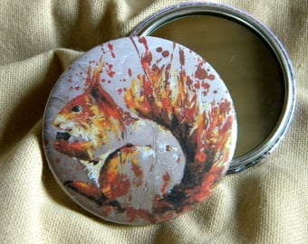 A red squirrel in profile Pocket mirror