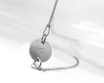 Initial Bracelet, Engraved Letter Disc Bracelet, 925 Sterling Silver Chain Bracelet, Personalized Silver Jewelry