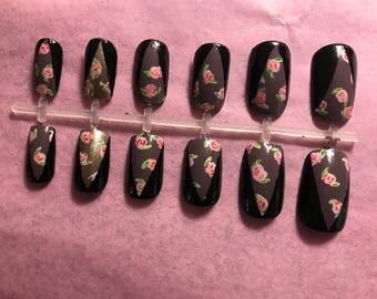 Grey Acrylic Nails Gray Fake Nails Black False Nails Floral Glue On Nails Graphic Press On Nails