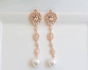 Rose Gold Earrings | Long Earrings | Bridal Earrings | Pearl Earrings | Bridal Jewelry | Pearl Dangle Earrings | Weddings
