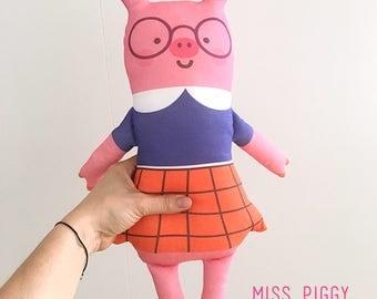 Miss piggy handmade doll organic cotton