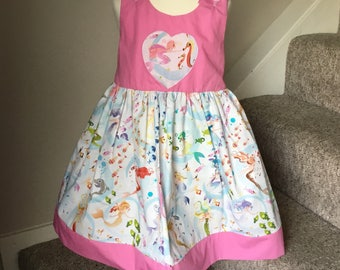Girls Party/summer dress, Mermaids/little fish/ under the sea/ heart applique/ one off unique Spanish fabric age 4 years