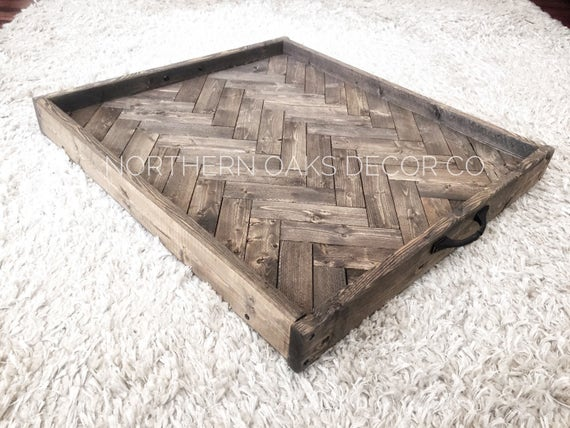 Oversized ottoman tray herringbone wooden serving