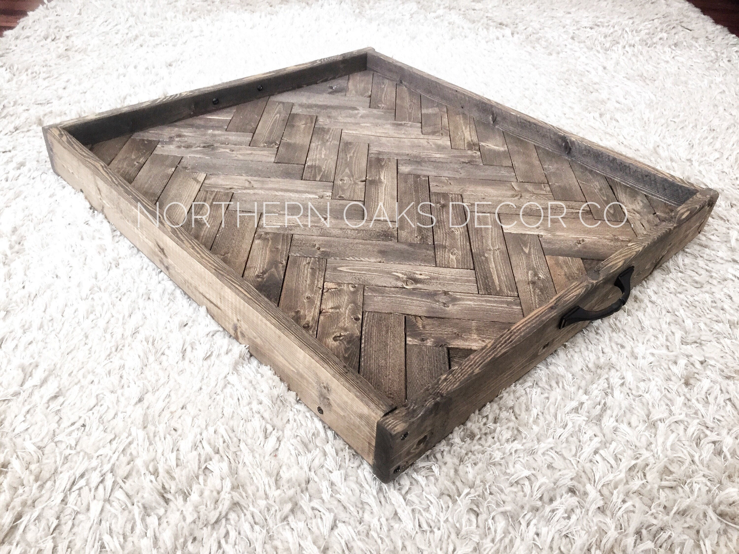 Oversized ottoman tray herringbone tray wooden serving tray