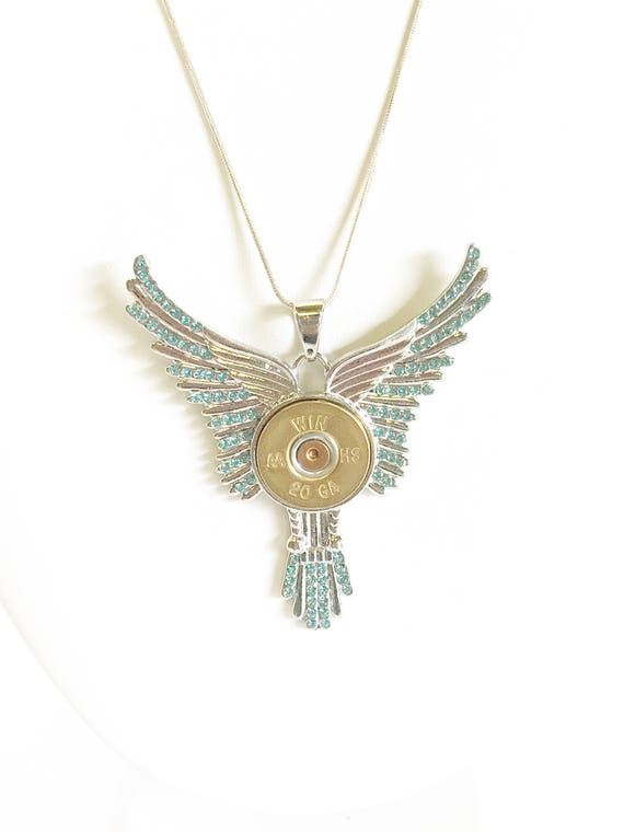 Statement Shotgun Shell Necklace, Bird Wings 20 Gauge Pendant Gift For Her, Shooting Sports Jewelry Gift, Southwestern Style Wife Jewelry