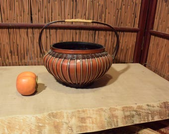 Vintage Chineser Japanese Basket Ikebana Flower Arrangement Vessel
