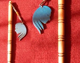 Astrological hair stick made of beech wood