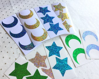 2-inch Stars and Crescent Moon Stickers