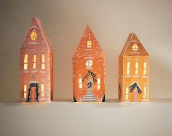 Three Christmas Paper Houses