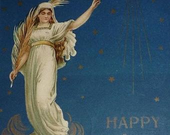 ON SALE till 7/28 Pretty Angel on Dark Blue Background Unique Easter Postcard