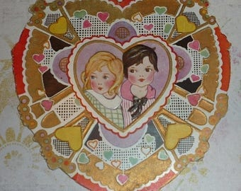 ON SALE till 7/28 Sweet Girl and Boy Art Deco Whitney Made Valentine Card