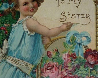 ON SALE Just a Line to My Sister - Antique Postcard With Cute Gil and Flowers