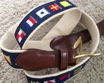 Navy Blue Canvas and Leather Belt with Sailing Flag Design