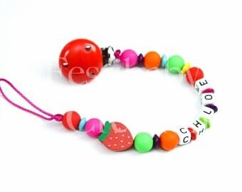 """Attache tétine personnalisée en perles silicone - modèle """"Chloé"""""""