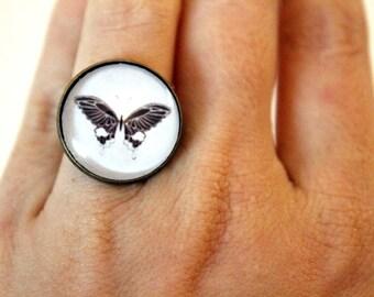"Bohemian ring ""moth 2"" vintage retro brass cabochon"