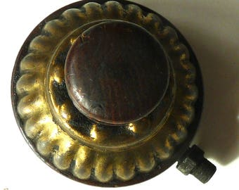 Walnut wood brass kighting knob antique vintage Victorian household collectible crafts