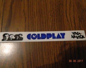 "New- COLDPLAY ""Viva la Vida"" white/blue/black Rubber Bracelet"
