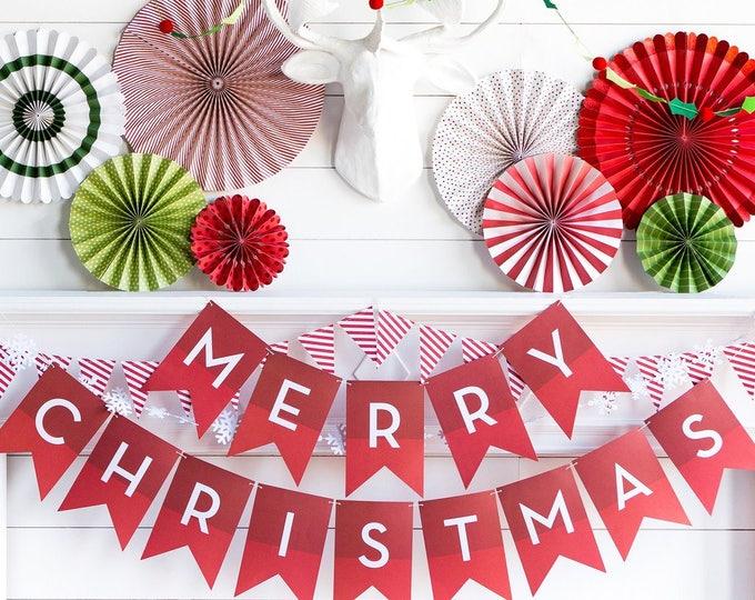 Merry Christmas Banner, Christmas Garland, Holiday Banner, Paper Holiday Banner, Christmas Banner, hyp407