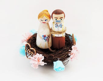 Nest Cake toppers - Nest for personalized figurines - Decorations Peg doll - wedding cake toppers - To make personalize