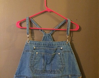 Vintage 90s Overall Shorts / Vintage Overall Shorts / Vintage Overalls / 90s Overalls / 90s Overall Shorts
