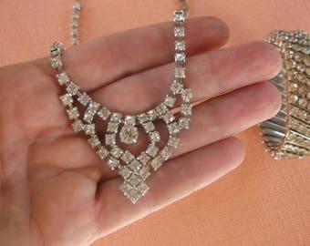 Vintage 1950s White Rhinestone Jewelry Set, Demi Parure, for a Princess, Choker Necklace and Matching Stretchy Rhinestone Bracelet