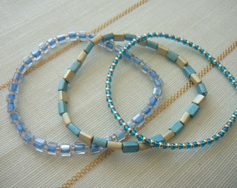 """OCEAN"" trio of bracelet to wear together or separately"