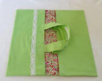 Pie bag reversible - green / flowers