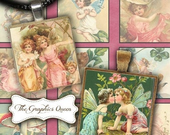 80 % off Summer Sale Magic Vintage Fairies Fairy Images 1 inch Square Tile Digital Collage Sheet Digital Instant Download Images for Jewelry