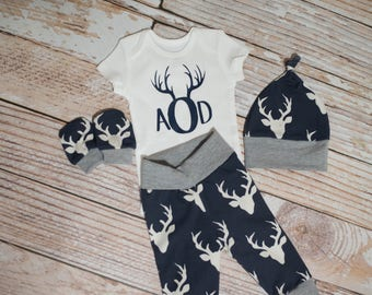 Personalized Baby Deer Antlers/Horns Bodysuit, Hat, Scratch Mittens Set with Grey Trim + Monogram Deer Antlers  Bodysuit