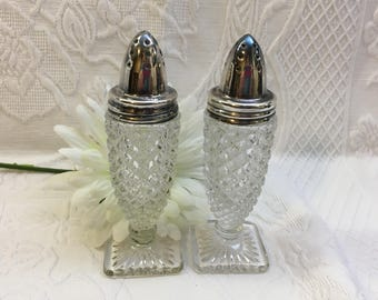 Anchor Hocking Salt & Pepper, Miss America Clear, Depression Glass, Silver Plate Lids, Square Bases, 1930's, Depression Shakers