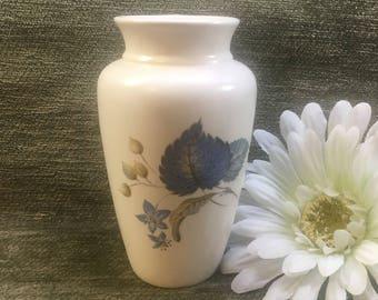 Axe Vale Pottery Vase, Blue Floral and Leaf Transfer Pattern,  Devon England, Axe Vale Pottery, Bud Vase