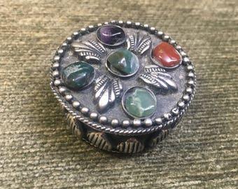 Kuchi Gemstone Trinket Box, Afgan Gemstone Box, Silver Tone Gemstone Pill Box, Tribal, Jeweled Box, Blue Lining, 1960s