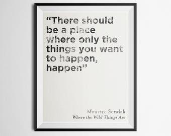 Minimalist Literary Quote Poster Where the Wild Things Are Maurice Sendak Print