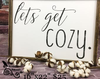 Farmhouse Framed Style Lets Get COZY sign