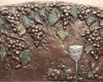 Grapes & Leaves Backsplash Mural In Bronze