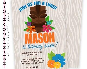 Luau Invitation / Hawaiian Invitations / Luau Birthday Invitation / Luau Party / Luau Party Invitations / Luau Invite / Luau Birthday   147